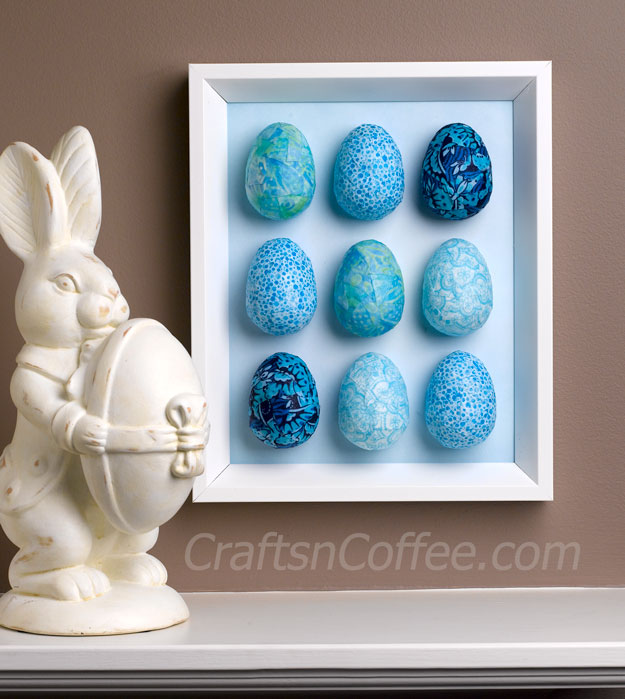 DIY decoupage eggs and spring egg wall art